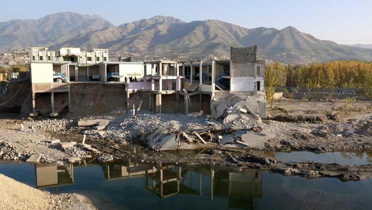 Buildings partly destroyed by the 2010 floods in Pakistan