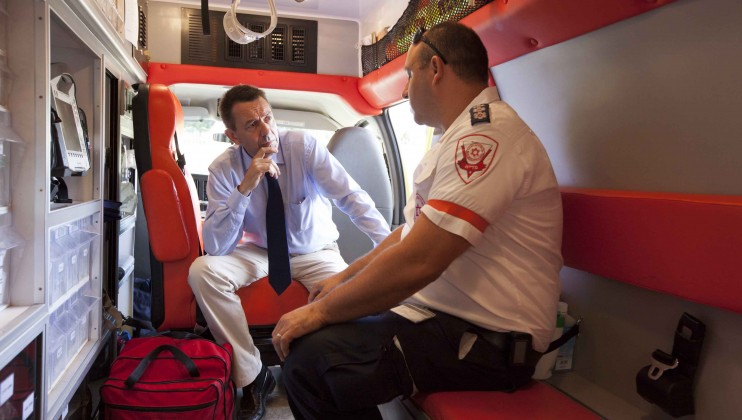 ICRC President Peter Maurer with Magen David Adom ambulance