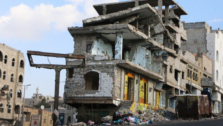 A partly destroyed civilian building in the war-torn city of Taiz.
