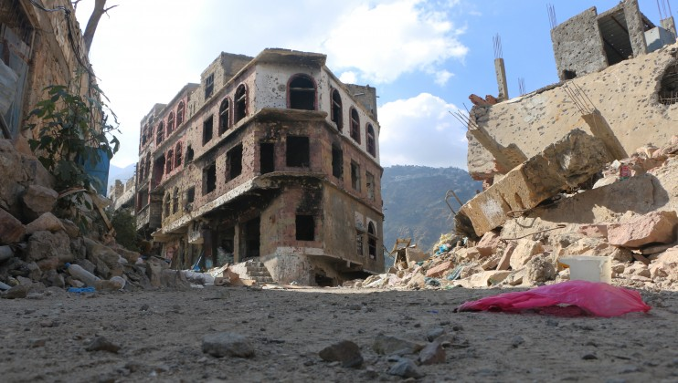 A heavily damaged civilian neighborhood in the war-torn city of Taiz.