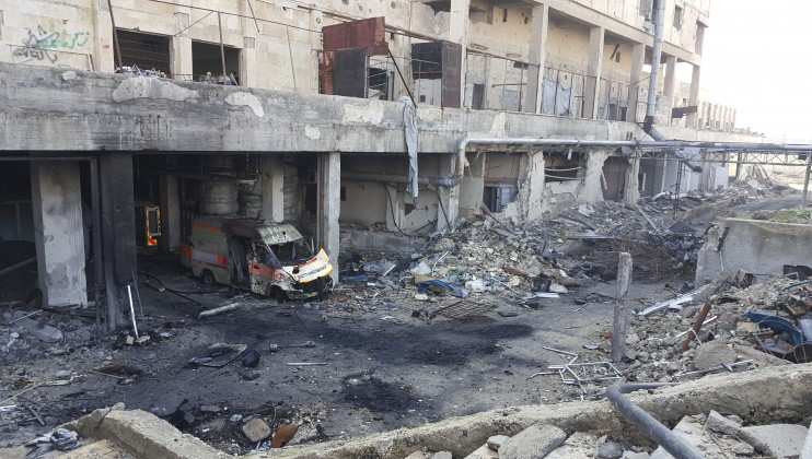 Scene of destruction after Aleppo National Hospital came under fire.