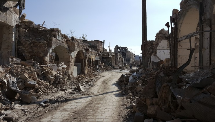 The once lively streets of the al-Jadaida neighborhood in Aleppo, destroyed by war.