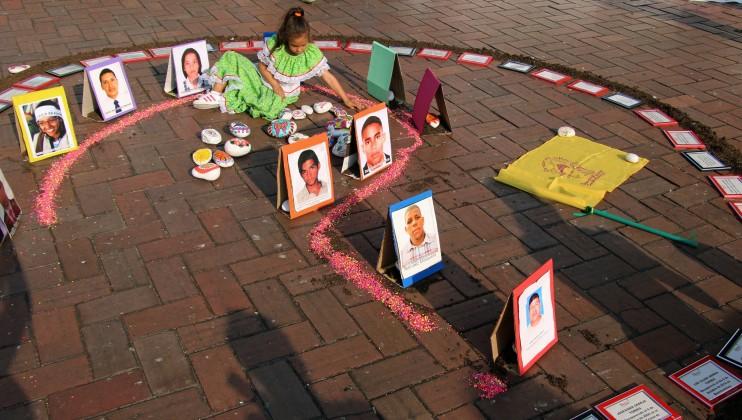 Cali, Colombia. 16 de Febrero de 2018. Organizaciones de familias de desaparecidos se manifiestan en el centro de Cali. Rebeca Lucía Galindo/CICR