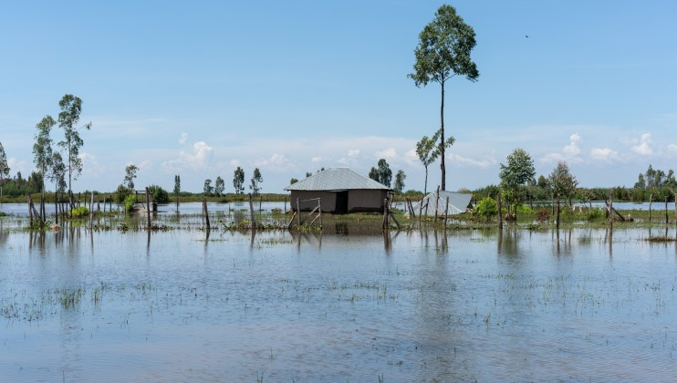 A flooded home in Osodo, Homa Bay, Kenya, Tuesday, Dec 17, 2019. Heavy rains have hit Kenya particularly hard this year, killing crops and displacing tens of thousands of people throughout the country. Mackenzie Knowles-Coursin/ICRC