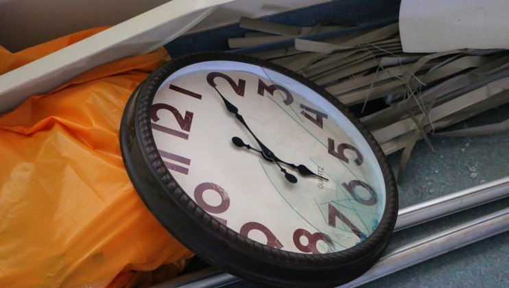 A stopped clock at the nursery of St. Georges Hospital. The explosion happened at 6.07pm on Tuesday August 4th.