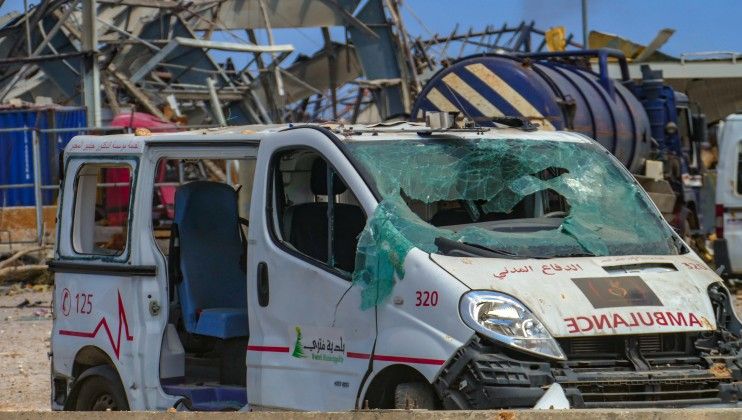 Beirut Port, a damaged ambulance that belongs to the Lebanese Civil Defense.